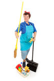 Cleaning Lady Isolated. Happy smiling cleaning lady with her housekeeping supplies. Full body isolated on white royalty free stock images