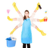 Cleaning lady. Isolated in white background royalty free stock photos