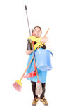 Cleaning lady. Isolated in white background royalty free stock photography