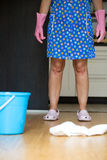 Cleaning lady in the kitchen Royalty Free Stock Images