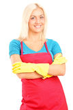 Cleaning lady posing. Isolated on white background stock photos