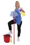 Cleaning lady service cleaner woman job occupation full body iso. Lated on a white background Royalty Free Stock Photo