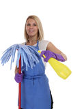 Cleaning lady service cleaner woman job occupation young isolate. D on a white background Stock Photos