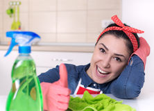 Cleaning lady showing thumb up Royalty Free Stock Photography