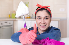 Cleaning lady showing thumb up Stock Image