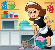 Cleaning lady theme image 3 Royalty Free Stock Images