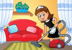 Cleaning lady theme image 4 Royalty Free Stock Images