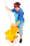 Cleaning Lady Wrings Mop. Cleaning lady wrings out mop in an industrial bucket. Full body isolated on white stock photo