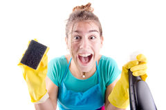 Cleaning lady. Young cleaning lady isolated in white Royalty Free Stock Photos