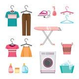 Cleaning, Laundry Icons Set Royalty Free Stock Image