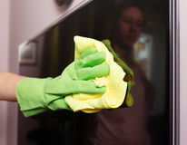 Cleaning a lcd tv Stock Photos