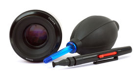 Cleaning lens camera Royalty Free Stock Photo