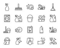 Cleaning line icons. Laundry, Sponge and Vacuum. Cleaning line icons. Laundry, Sponge and Vacuum cleaner signs. Washing machine, Housekeeping service and Maid royalty free illustration