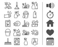 Cleaning line icons. Laundry, Sponge and Vacuum. Stock Photos