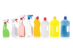 Cleaning liquid bottles in row Royalty Free Stock Photo