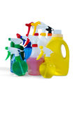 Cleaning liquid in colorful spray bottles Royalty Free Stock Images