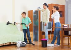 Cleaning in living room Stock Image
