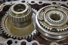 The cleaning and lubrication of the shaft and gears Royalty Free Stock Photos
