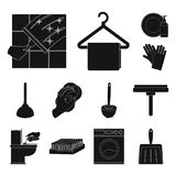 Cleaning and maid black icons in set collection for design. Equipment for cleaning vector symbol stock web illustration. Cleaning and maid black icons in set Stock Photos