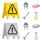 Cleaning and maid cartoon,monochrome icons in set collection for design. Equipment for cleaning vector symbol stock web. Cleaning and maid cartoon,monochrome Royalty Free Stock Photo
