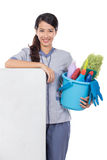 Cleaning maid woman smiling to camera Royalty Free Stock Photo