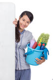 Cleaning maid woman smiling to camera Royalty Free Stock Image
