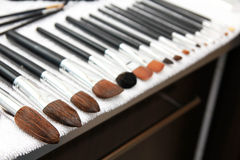 Cleaning make-up brushes Stock Photo