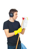 Cleaning man dancing with map Royalty Free Stock Images