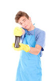 Cleaning man Royalty Free Stock Image