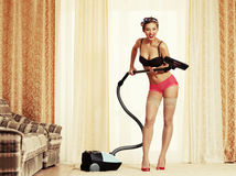 Cleaning master. Pin-up style Royalty Free Stock Image