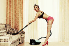 Cleaning master. Pin-up style Royalty Free Stock Photos