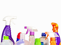 Cleaning materials. Assorted cleaning products isolated on white Stock Photos