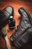 Cleaning of men's boots Royalty Free Stock Photo