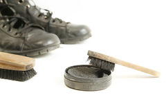 Cleaning of men's boots Stock Photography