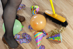 Cleaning mess after party Stock Photography