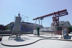 Cleaning metal sandblasting zdjęcie stock