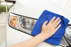 Cleaning Microfiber Samochodowy Używa płótno Fotografia Stock
