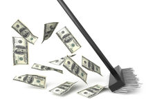 Cleaning Money / crisis and denomination. Crisis illustration 3d. Money cleaning royalty free illustration