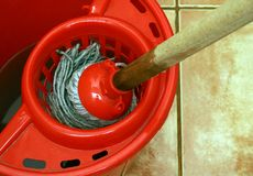 cleaning with mop and bucket Royalty Free Stock Photos