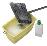 Cleaning mop with bucket and cleaner Stock Photos