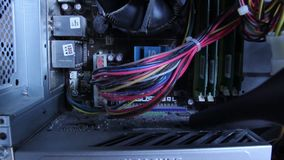 Cleaning motherboard, sucking dust, vacuum cleaner, inside comp. Stock footage stock video footage