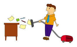 Cleaning my desk. An illustration of a business man cleaning his desk with a vacuum cleaner royalty free illustration