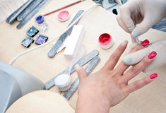 Cleaning nails Stock Photography