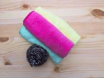 Cleaning napkins and metallic kitchen sponge. Stock Photo