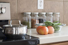 Cleaning and nead modern kitchen Royalty Free Stock Images