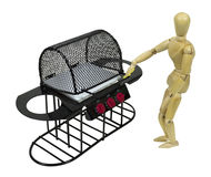 Cleaning the New Barbecue Grill Royalty Free Stock Photos