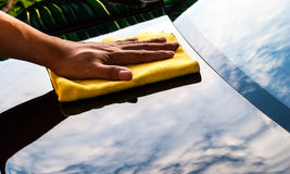 Cleaning new car royalty free stock photography