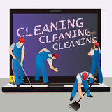 Cleaning a notebook computer Royalty Free Stock Images