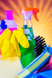 Cleaning objects on saturated background Royalty Free Stock Image