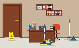 Cleaning in the office room. Cleaning in the office. There is a `Caution! Wet floor` sign, a mop, a broom, a scoop and other objects in the picture. There is a Royalty Free Stock Photography